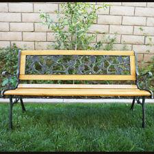 "NEW 50""-inch Outdoor Patio Porch Deck Hardwood Cast Iron Garden Bench Chair Wood"