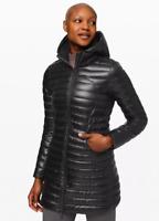 Lululemon Women Pack It Down Hooded Long Jacket *Shine Black Size 4 NWT