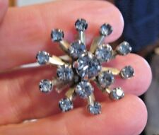 VINTAGE BROOCH/PIN WITH BLUE STONES SET IN SILVER TONE METAL