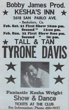 "Vintage 5.5"" x 8.5"" Show Flyer: Tyrone Davis & Kesha Wright Soul '80s Original"