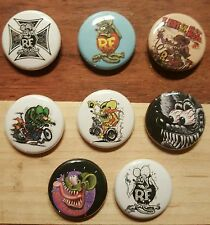 "8 1"" Rat Fink Ed big daddy Roth hot rod kustom culture  pinback badges buttons"