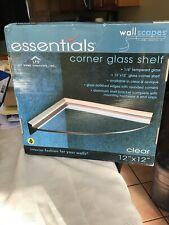 New Wallscapes Essentials 12-inch Corner Clear Glass Shelf Kit Silver