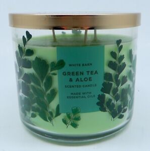 BATH & BODY WORKS GREEN TEA & ALOE SCENTED 3 WICK CANDLE LARGE 14.5oz NEW