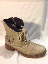 River Island Beige Ankle Leather Boots Size 6