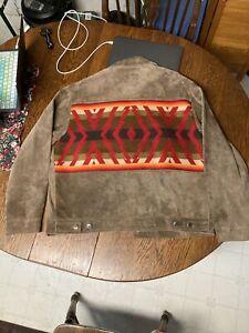 Pendleton Ranch Jacket High Grade Western Wear Tribal Navajo Pig Suede Wool L