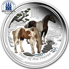 Australien 1 Dollar Silber 2014 Lunar II  Silbermünze Jahr des Pferdes in Farbe