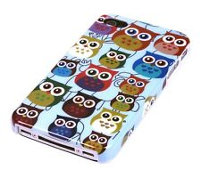 Hülle f Apple iPhone 4S 4 4G Schutzhülle Tasche Case Cover Owl kleine Eule bunt