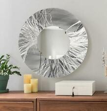 Abstract Hand-Etched Silver Metal Wall Art Mirror Round Wall Mirror by Jon Allen