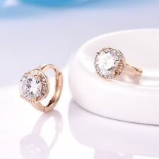 18k Yellow Gold Filled White Topaz Crystal Small Huggie Earrings Lady Jewelry
