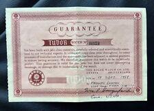 EXTRA RARE BLANK PAPER For MILITARY ROLEX TUDOR 1958 7922 7923 7924 SUBMARINER