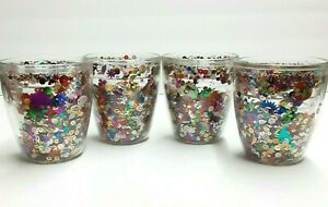 4 Tervis Confetti Tumbler Set Vintage Glitter Sequin Cups 12 oz Tumblers Retro
