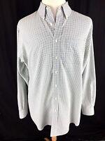L.L. Bean Mens Button Front Shirt Sz LT Large Tall White Check Gingham Long Slv