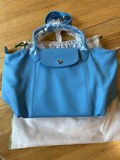 NWT Longchamp Le Pliage Cuir Small Top Handle Cornflower Leather Crossbody Bag