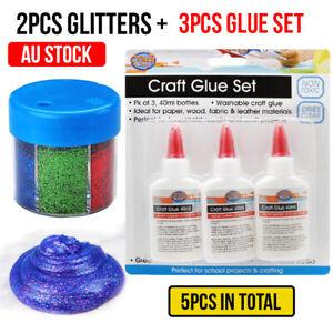 5Pcs Craft Glue White Washable Non Toxic 40ml &6 Colors Glitter Set 60g NEW AU