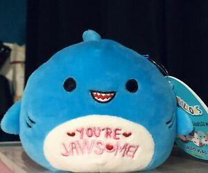 "NWT Squishmallows 4.5"" REY Blue Shark You're JawSome Valentines Plush"