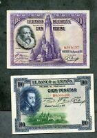 LOTE 4  BILLETES PESETAS 100 1925 100 1928 50 1928 25 1928 los 4 EBC