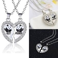 Best Friend Panda Heart Silver Crystal Tone 2 Pendants Necklace Love Friendship