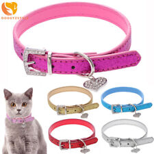 Rhinestone Bling Dog Collar Heart Crystal Pendant Leather Puppy Cat Pet Necklace