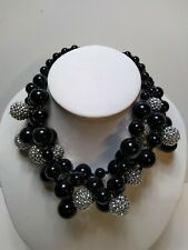 kenneth jay lane Statement necklace black and silver with presentation pouch