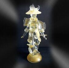 Murano LARGE art glass oriental warrior figurine with gold