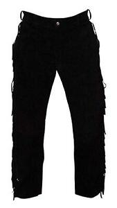 """40"""" Mens Native American Black Cowhide suede leather Jeans style pants fringes"""