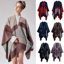 Womens Cashmere Like Poncho Blanket Wrap Shawl Scarf Stole Cape Coat Geometric