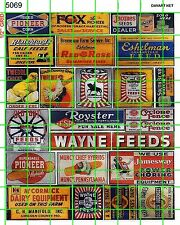 5069 DAVE'S DECALS OLD FARM SEED GRAIN CO OP CHICKENS CORN AG SIGNS ADVERTISING