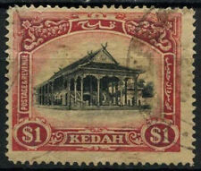 Malaya Kedah 1921-31 SG#37 $1 Black & Red/Yellow Used Wmk Crown To Right #A93244