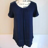 Meadow Rue Anthropologie Blue Crochet Sleeve Top Womens Size Medium