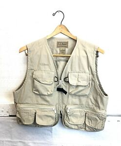 LL Bean Mens Fly Fishing Vest Beige Tan Outdoor Safari Photography Travel Size L