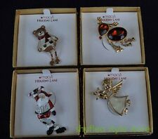 Mixed Lot Macys Holiday Lane Christmas Lapel Pins Reindeer Santa Angel Teddy NEW