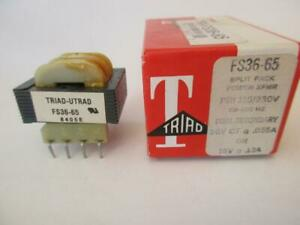 TRIAD Transformer Dual Sec 36VCT .065A 18V .13A 115/230v SPLIT BOBBIN PC FS36-65