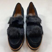 New In Box Franco Sarto Size 8.5 Cyrus Black Suede Loafers W Faux Fur Trim