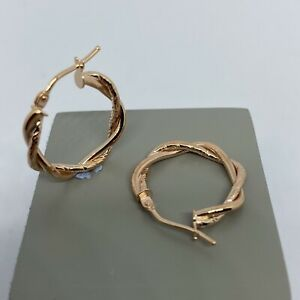 375 Hallmarked Genuine 9ct Rose Gold Double Twisted Creole Hoop Earrings - 16mm