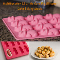 Multifunction 12 Little Cute Pig Silicone Cake Baking Pink Mould Chocolate Mold