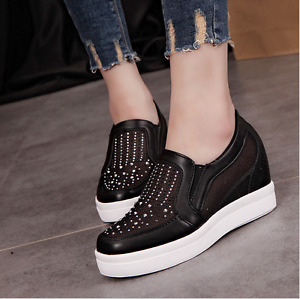 Womens Hidden Wedge Heel Mesh Rhinestone Breathable Sneakers Shoes Sports Loafer
