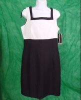 Womens Size 12 Black & White Dress John Roberts Summer Fall Office Casual