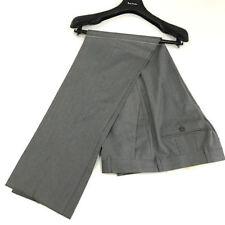 Pantaloni da uomo in lana grigia con gamba dritta
