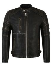 Mens Leather Jacket Vintage Distress Quilted Biker Style Genuine Leather Jacket