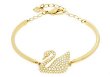 Swarovski Swan Bangle, Gold-Plated Crystal Adjustable Chain Authentic - 5083133
