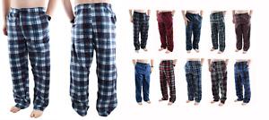 Mens Pajama Pants Fleece Soft Plaid Casual Lounge Sleep Bottoms with Pockets