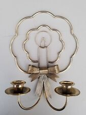 Vtg Homco Home Interiors Christmas Brass Candle Sconce Wall Decoration