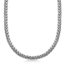 rcj Oxidized Sterling Silver Wheat Style Chain Men's Necklace 22 inches