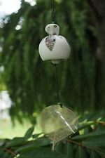 ELEPHANT HANGING BELL WIND CHIME OUTDOOR DECOR HAND PRINTED CERAMIC THAI UNIQUE