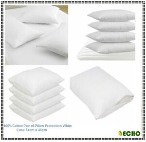 Echo Anti Allergy 100% Cotton Pair of Pillow Protectors White Case 74cm x 48cm