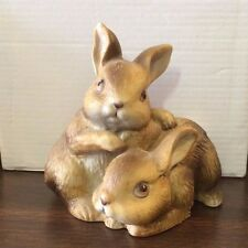 Homco Vintage Two Bunny Rabbits Bunnies Figurine Figure Taiwan 3.5in