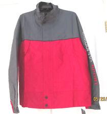 NWT Claiborne Sport Wind Rain Jacket Nylon Red Gray Water resistant Mens L