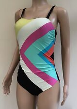 Debenhams Ben De Lisi Black Multi Chevron Swimsuit Swimming Costume Size 16