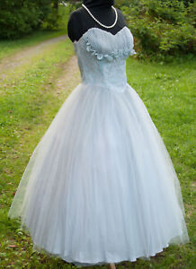 Vintage Party Prom Dress 1950's Strapless Light Blue Tulle Lace
