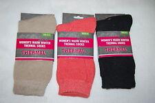 Womens Socks THREE PAIR LOT Beige Coral Black WARM WINTER THERMAL Sock Size 9-11